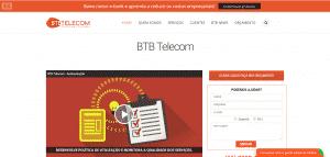Captura página inicial BTB Telecom