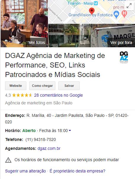 Resultado do Google Meu Negócio da DGAZ Marketing
