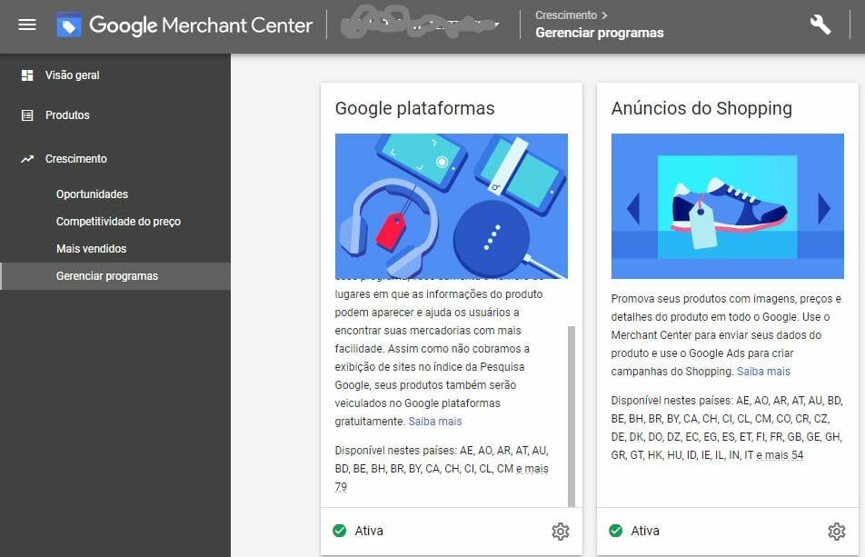 informações configuração google shopping organico